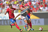 Action photo during the match Costa Rica vs Paraguay, Corresponding Group -A- America Cup Centenary 2016, at Citrus Bowl Stadium<br /> <br /> Foto de accion durante el partido Estados Unidos vs Colombia, Correspondiante al Grupo -A-  de la Copa America Centenario USA 2016 en el Estadio Citrus Bowl, en la foto: (i-d) Ronald Matarrita de Costa Rica, Bruno Valdez de Paraguay y Bryan Ruiz de Costa Rica<br /> <br /> <br /> 04/06/2016/MEXSPORT/Isaac Ortiz.