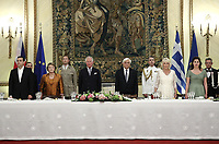 Pictured L-R: Prime Minister Alexis Tsipras, Vlasia Pavlopoulou, Prince Charles, Greek President Prokopis Pavlopoulos, the Duchess of Cornwall and the Prime Minister's wife Betty (Peristera) Baziana during the official state dinner at the Presidential Mansion in Athens, Greece. Wednesday 09 May 2018 <br /> Re: Official visit of HRH Prnce Charles and his wife the Duchess of Cornwall to Athens, Greece.