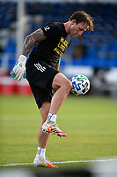 LAKE BUENA VISTA, FL - JULY 18: Steve Clark #12 of the Portland Timbers warms up during a game between Houston Dynamo and Portland Timbers at ESPN Wide World of Sports on July 18, 2020 in Lake Buena Vista, Florida.