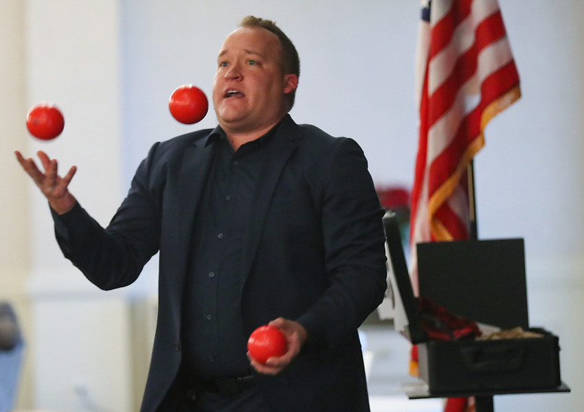 Jared Sherlock, an award-winning illusionist and comic from Mineneapolis, performs at the 2019 New Jersey Asphalt Pavement Association Holiday Luncheon on Thursday, December 5, 2019 at Galloping Hill Golf Course in Kenilworth, N.J.