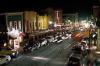Overview of nightlife along the Main Street of Park City, Utah.