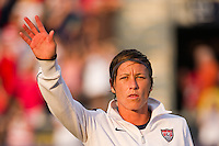 Abby Wambach (20) of the United States (USA) is introduced prior to playing China PR (CHN). The United States (USA) women defeated China PR (CHN) 4-1 during an international friendly at PPL Park in Chester, PA, on May 27, 2012.