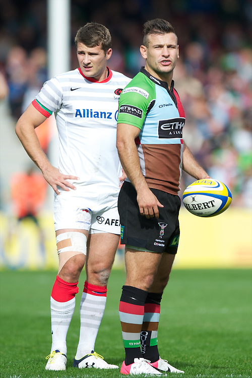 Danny Care of Harlequins (right) and Richard Wigglesworth of Saracens during the Aviva Premiership match between Harlequins and Saracens at the Twickenham Stoop on Sunday 30th September 2012 (Photo by Rob Munro)