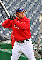 29 March 2008: Washington Nationals outfielder Austin Kearns take his turn in the batting cage prior to an exhibition game against the Baltimore Orioles at Nationals Park, in Washington, DC. The matchup is the first professional game to be played in the new ballpark, prior to the upcoming official opening day inaugural game. ..Mandatory Photo Credit: Ed Wolfstein Photo