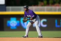 Louisville Bats second baseman Irving Falu (4) on defense against the Durham Bulls at Durham Bulls Athletic Park on August 9, 2015 in Durham, North Carolina.  The Bulls defeated the Bats 9-0.  (Brian Westerholt/Four Seam Images)