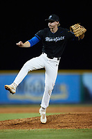 Bluefield Ridge Runners relief pitcher Colton Mcintosh (22) follows through on his delivery against the Burlington Sock Puppets at Burlington Athletic Park on June 8, 2021 in Burlington, North Carolina. (Brian Westerholt/Four Seam Images)