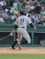 Infielder Angelo Gumbs (21) of the Charleston RiverDogs, a New York Yankees affiliate, in a game against the Greenville Drive on June 2, 2012, at Fluor Field at the West End in Greenville, South Carolina. Greenville won, 10-4. Gumbs is the Yankees' No. 14 prospect, according to Baseball America. (Tom Priddy/Four Seam Images)