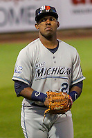 West Michigan Whitecaps outfielder Victor Padron (21) during game five of the Midwest League Championship Series against the Cedar Rapids Kernels on September 21st, 2015 at Perfect Game Field at Veterans Memorial Stadium in Cedar Rapids, Iowa.  West Michigan defeated Cedar Rapids 3-2 to win the Midwest League Championship. (Brad Krause/Four Seam Images)