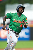 Down East Wood Ducks Sherten Apostel (38) running the bases during a Carolina League game against the Fayetteville Woodpeckers on August 13, 2019 at SEGRA Stadium in Fayetteville, North Carolina.  Fayetteville defeated Down East 5-3.  (Mike Janes/Four Seam Images)