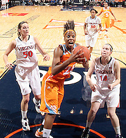 CHARLOTTESVILLE, VA- NOVEMBER 20: Glory Johnson #25 of the Tennessee Lady Volunteers shoots between Chelsea Shine #50 of the Virginia Cavaliers and Lexie Gerson #14 of the Virginia Cavaliers during the game on November 20, 2011 at the John Paul Jones Arena in Charlottesville, Virginia. Virginia defeated Tennessee in overtime 69-64. (Photo by Andrew Shurtleff/Getty Images) *** Local Caption *** Glory Johnson;Chelsea Shine;Lexie Gerson
