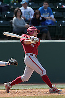 Nate Blackham #33 of the Washington State Cougars bats against the UCLA Bruins at Jackie Robinson Stadium on March 24, 2012 in Los Angeles,California. UCLA defeated Washington 12-3.(Larry Goren/Four Seam Images)