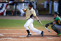 UCF Knights left fielder Matthew Mika (2) at bat during a game against the Siena Saints on February 21, 2016 at Jay Bergman Field in Orlando, Florida.  UCF defeated Siena 11-2.  (Mike Janes/Four Seam Images)