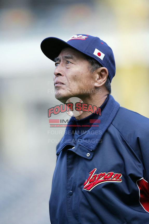 Manager Sadaharu Oh of Japan during World Baseball Championship at Petco Park in San Diego,California on March 20, 2006. Photo by Larry Goren/Four Seam Images