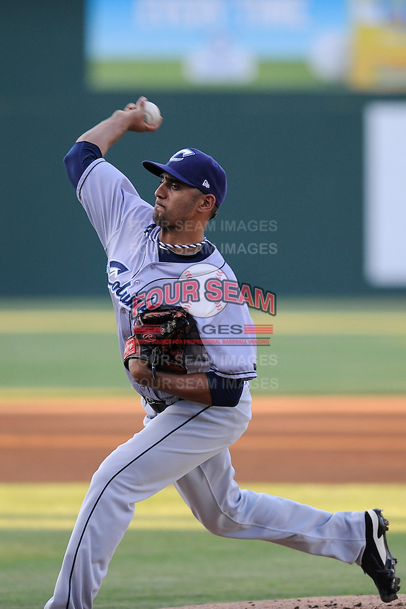 Starting pitcher Danny Salazar (40) of the Columbus Clippers in a game against the Charlotte Knights on Saturday, June 15, 2013, at Knights Stadium in Fort Mill, South Carolina. Columbus won, 4-2. (Tom Priddy/Four Seam Images)