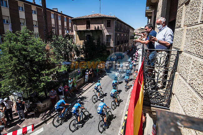 The peloton including Movistar Team during Stage 3 of La Vuelta d'Espana 2021, running 202.8km from Santo Domingo de Silos to Picon Blanco, Spain. 16th August 2021.    <br /> Picture: Unipublic/Charly Lopez   Cyclefile<br /> <br /> All photos usage must carry mandatory copyright credit (© Cyclefile   Unipublic/Charly Lopez)