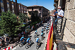 The peloton including Movistar Team during Stage 3 of La Vuelta d'Espana 2021, running 202.8km from Santo Domingo de Silos to Picon Blanco, Spain. 16th August 2021.    <br /> Picture: Unipublic/Charly Lopez | Cyclefile<br /> <br /> All photos usage must carry mandatory copyright credit (© Cyclefile | Unipublic/Charly Lopez)