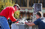 James Eason, of Tonopah, competes in the 39th annual World Championship Single-Jack Rock Drilling competition in Carson City, Nev., on Saturday, Oct. 26, 2013. <br /> Photo by Cathleen Allison