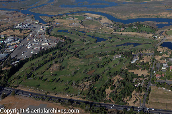 aerial photograph of the Napa Golf Course, Napa County, California, Napa River in the background