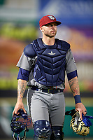 Lehigh Valley IronPigs catcher Nick Rickles (9) after a game against the Rochester Red Wings on June 30, 2018 at Frontier Field in Rochester, New York.  Lehigh Valley defeated Rochester 6-2.  (Mike Janes/Four Seam Images)