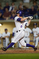 LSU Tigers first baseman Mason Katz #8 swings against the Mississippi State Bulldogs during the NCAA baseball game on March 16, 2012 at Alex Box Stadium in Baton Rouge, Louisiana. LSU defeated Mississippi State 3-2 in 10 innings. (Andrew Woolley / Four Seam Images).