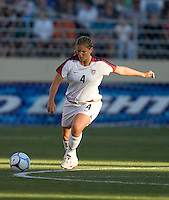 Cat Whitehill prepares to kick. USA defeated Japan 4-1 at Spartan Stadium in San Jose, CA on July 28, 2007.