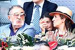 Tennis legend Ion Tiriac, Infanta Elena of Spain and her daughter Victoria Federica de Todos los Santos de Marichalar y Borbon during Madrid Open Tennis 2016 match.May, 3, 2016.(ALTERPHOTOS/Acero)