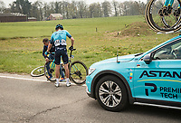 flat tire / new wheel for Stefan de Bod (ZAF/Astana - Premier Tech)<br /> <br /> 85th La Flèche Wallonne 2021 (1.UWT)<br /> 1 day race from Charleroi to the Mur de Huy (BEL): 194km<br /> <br /> ©kramon