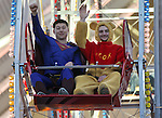 Matt Moerdick, left, and Jason Bell ride in the  Scheels Ferris Wheel Dollar Challenge, a fundraiser for the Northern Nevada Children's Cancer Foundation on Friday, Feb. 1, 2013, at Scheels in Sparks, Nev..Photo by Cathleen Allison