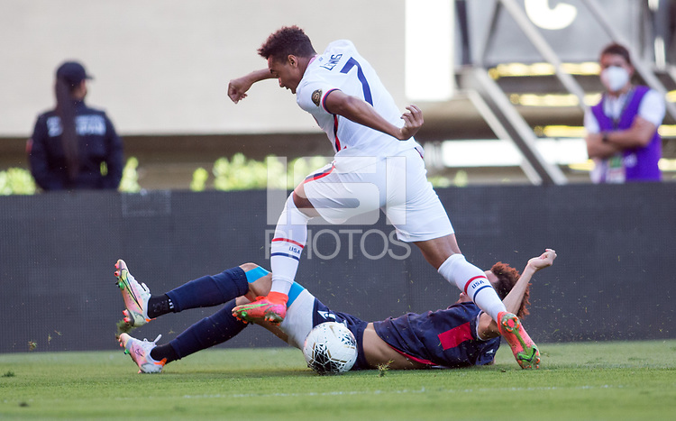 ZAPOPAN, MEXICO - MARCH 21: Jonathan Lewis #7 of the United States turns and moves with the ball during a game between Dominican Republic and USMNT U-23 at Estadio Akron on March 21, 2021 in Zapopan, Mexico.