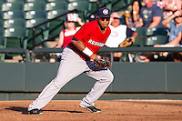 Oklahoma City RedHawks first baseman Jon Singleton (23) on defense during the Pacific Coast League baseball game against the Round Rock Express on July 9, 2013 at the Dell Diamond in Round Rock, Texas. Round Rock defeated Oklahoma City 11-8. (Andrew Woolley/Four Seam Images)