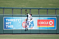 Salt River Rafters left fielder Victor Reyes (5), of the Arizona Diamondbacks organization, attempts to make a leaping catch on a ball hit by Kelvin Gutierrez (not pictured), of the Washington Nationals organization, during an Arizona Fall League game against the Mesa Solar Sox on October 30, 2017 at Salt River Fields at Talking Stick in Scottsdale, Arizona. The Solar Sox defeated the Rafters 8-4. (Zachary Lucy/Four Seam Images)