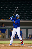 AZL Cubs left fielder Nelson Velazquez (20) at bat against the AZL Giants on September 6, 2017 at Sloan Park in Mesa, Arizona. AZL Giants defeated the AZL Cubs 6-5 to even up the Arizona League Championship Series at one game a piece. (Zachary Lucy/Four Seam Images)