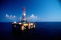 An offshore oil drilling rig in the Gulf of Mexico.