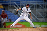 Binghamton Rumble Ponies relief pitcher Kyle Regnault (22) delivers a pitch during a game against the Altoona Curve on May 17, 2017 at NYSEG Stadium in Binghamton, New York.  Altoona defeated Binghamton 8-6.  (Mike Janes/Four Seam Images)