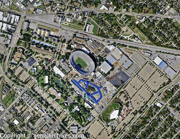 aerial photo map of the Cotton Bowl Stadium, the Leonhard Lagoon Nature Walk and Fair Park, Dallas, Texas, 2020