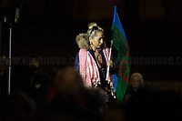 """Rom and Sinti Community representative.<br /> <br /> Rome, 25/01/2020. Today, Rete della Pace – supported by numerous organizations, including CGIL, ANPI and Libera – held a demonstration for Peace in Piazza dell'Esquilino called """"Spegniamo La Guerra, Accendiamo La Pace"""" (Let's turn off the war, let's turn on Peace, 1.).<br /> <br /> Footnotes & Links:<br /> 1. http://bit.do/fqxs9"""