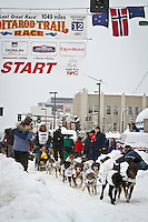 Ken Anderson leaves the 2011 Iditarod ceremonial start line in downtown Anchorage, during the 2012 Iditarod..Jim R. Kohl/Iditarodphotos.com