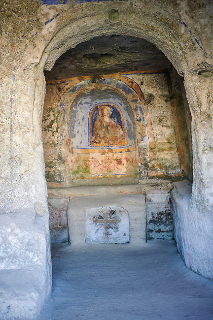 Rock cave Christian church of St Agnes and its altar fresco dating from 11th century. Matera, Basilicata, Italy