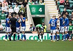 Hibs v St Johnstone…22.09.21  Easter Road.    SPFL<br />The saints players surround referee John Beaton after he awrds Hibs a penalty<br />Picture by Graeme Hart.<br />Copyright Perthshire Picture Agency<br />Tel: 01738 623350  Mobile: 07990 594431