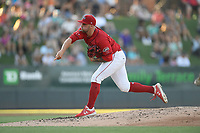 Starting pitcher Alex Scherff (18) of the Greenville Drive delivers a pitch in a game against the Rome Braves on Friday, June 28, 2019, at Fluor Field at the West End in Greenville, South Carolina. Rome won, 4-3. (Tom Priddy/Four Seam Images)