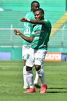 PALMIRA - COLOMBIA, 14-10-2020: Deiber Caicedo del Cali celebra después de anotar el tercer gol de su equipo durante partido entre Deportivo Cali y Boyacá Chicó F.C. por la fecha 14 de la Liga BetPlay DIMAYOR I 2020 jugado en el estadio Deportivo Cali de la ciudad de Palmira. / Deiber Caicedo of Cali celebrates after scoring the trhid goal of his team during match between Deportivo Cali and Boyaca Chico F.C. for the date 14 as part of BetPlay DIMAYOR League I 2020 played at Deportivo Cali stadium in Palmira city.  Photo: VizzorImage / Nelson Rios / Cont