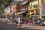 Main shopping and restaurant street near the old market, Siem Reap, Cambodia