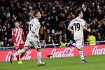 Real Madrid's Lucas Vazquez (L) and Alvaro Odriozola (R) celebrate goal during Copa del Rey match between Real Madrid and Girona FC at Santiago Bernabeu Stadium in Madrid, Spain. January 24, 2019. (ALTERPHOTOS/A. Perez Meca)