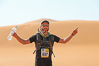 4th October 2021; Tisserdimine to Kourci Dial Zaid;  Marathon des Sables, stage 2 of  a six-day, 251 km ultramarathon, which is approximately the distance of six regular marathons. The longest single stage is 91 km long. This multiday race is held every year in southern Morocco, in the Sahara Desert. Nicholas Davenport Jones (GB) in the dunes