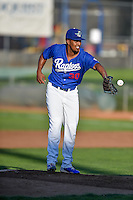 Ogden Raptors starting pitcher Josh Kimborowicz (30) fields a throw during the game against the Grand Junction Rockies in Pioneer League action at Lindquist Field on August 25, 2016 in Ogden, Utah. The Rockies defeated the Raptors 12-3. (Stephen Smith/Four Seam Images)