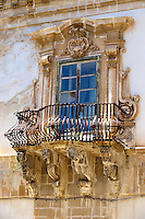 Baroque balcony  of the palace of  Beneventano, Sicili, Sicily
