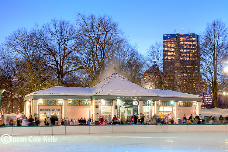 Frog Pond skating rink in Boston Common, Boston, MA