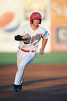 Auburn Doubledays second baseman Kyle Marinconz (4) runs the bases during a game against the Hudson Valley Renegades on September 5, 2018 at Falcon Park in Auburn, New York.  Hudson Valley defeated Auburn 11-5.  (Mike Janes/Four Seam Images)