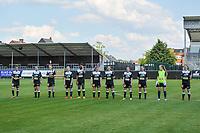 line-up Eendracht Aalst ( Justine Blave (22) , Niekie Pellens (41) , Loes Van Mullem (33) , Stephanie Van Gils (27) , Henriette Awete (19) , Nina Vindevoghel (10) , Valentine Hannecart (8) , Anke Vanhooren (7) , Tiffanie Vanderdonckt (5) , Goalkeeper Lisa Vandeputte (1) , Tiana Andries (11) ) pictured before a female soccer game between Eendracht Aalst and Racing Genk on the 10 th and last matchday of play off 2 of the 2020 - 2021 season of Belgian Scooore Womens Super League , Saturday 29 st of May 2021  in Aalst , Belgium . PHOTO SPORTPIX.BE | SPP | STIJN AUDOOREN