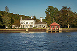 Connecticut River shorefront classical home from River Quest tour boat.